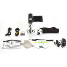 Levenhuk DTX 500 Mobi Digital Microscope (SKU: 61023) with included accessories.