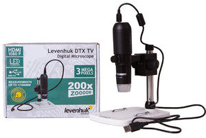 Levenhuk DTX TV Digital Microscope (SKU: 70422) with package box.