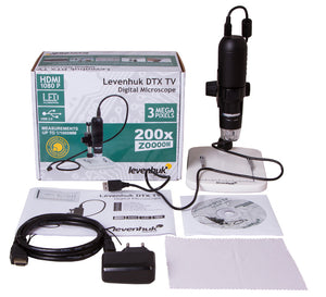 Full package for Levenhuk DTX TV Digital Microscope (SKU: 70422) showing microscope, power adapter, usb cord, software CD, and box.