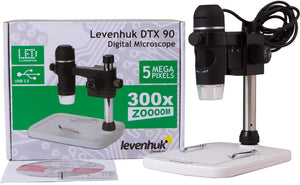 Levenhuk DTX 90 Digital Microscope (SKU: 61022) with its box.