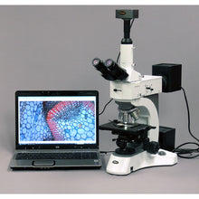 AmScope 50X-1000X Darkfield Polarizing Metallurgical Microscope (SKU: ME520T-9M) transmitting an image to a laptop computer.
