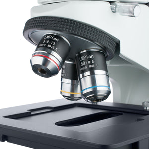 Objectives and stage for the Amscope 50X-500X Binocular Polarized-light Metallurgical Microscope (SKU: ME580B-PZ).