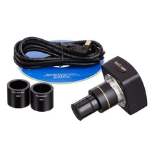 Camera, eyepieces, USB, and software CD for the AmScope 40X-2000X 3W LED Siedentopf Trinocular Compound Microscope (SKU: T340B-LED-10M).