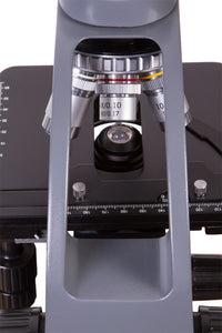 Back view of stage and objectives for Levenhuk 700M Monocular Microscope (SKU: 69655).
