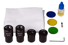 Objectives, eyepieces, light filters and immersion oil for Levenhuk 720B Binocular Microscope (SKU: 69656).