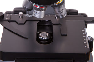 Objectives, stage, and stage clips for Levenhuk 740T Trinocular Microscope (SKU: 69657).