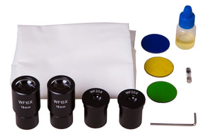 Objectives, eyepieces, light filters, and immersion oil for Levenhuk 740T Trinocular Microscope (SKU: 69657).