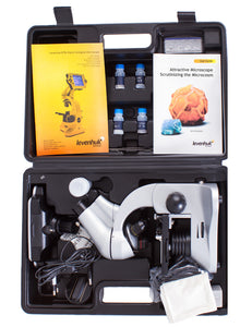 Levenhuk D70L Digital Biological Microscope (SKU: 66826) in its case with instruction manual.