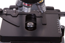 View of stage, stage clips, and objectives for Levenhuk D740T 5.1M Digital Trinocular Microscope (SKU: 69658).