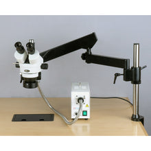 Fully setup AmScope 3.5X-180X Fiber Ring Articulating Zoom Stereo Microscope (SKU: SM-8TZZ-FOR-10M).