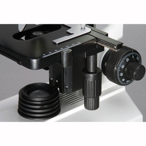 Focusing knob, stage, and light for the AmScope 40X-1600X Doctor Veterinary Clinic Biological Compound Microscope (SKU: T390A-HC2).