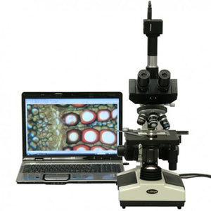 AmScope 40X-1600X Doctor Veterinary Clinic Biological Compound Microscope (SKU: T390A-HC2) transmitting an image to a laptop computer.