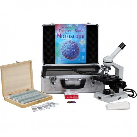 Amscope 40X-2500X Advanced Monocular Microscope w/ 3D-Stage Book Slides & Carrying Case