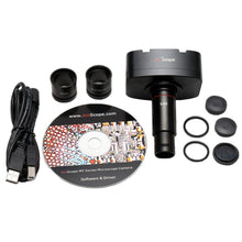 Camera, eyepieces, USB cord, and software CD for the Amscope 40X-1200X Infinity Polarizing Microscope (SKU: PZ300TB-10MT).