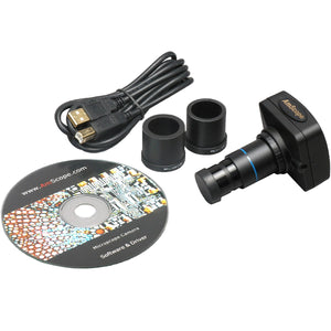 Camera, eyepieces, USB cord, and software CD for the AmScope 50X-1000X EPI Trinocular Infinity Polarizing Microscope (SKU: PZ600TB-8M).