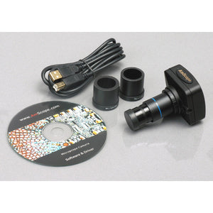 Camera, eyepieces, USB cord, and software CD for the AmScope 3.5X-180X Fiber Ring Articulating Zoom Stereo Microscope (SKU: SM-8TZZ-FOR-10M).