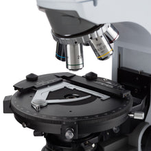Objectives and 360 degree rotating stage of the Amscope 50X-1000X Advanced Upright Polarized-light Microscope (SKU: PZ620T-MF603).