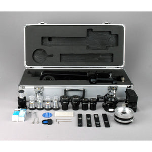 Accessories and case for the AmScope 50X-1000X EPI Trinocular Infinity Polarizing Microscope (SKU: PZ600TB-8M).