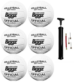 (Pack of 6) Biggz Volleyballs - Soft Touch Leather - Official Size - Bulk Balls