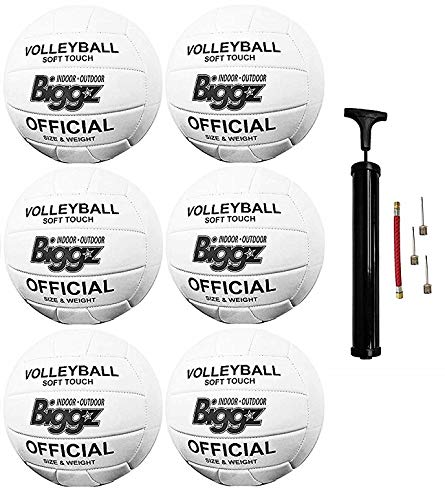 (Pack of 6) Biggz Volleyballs - Soft Touch Leather - Official Size
