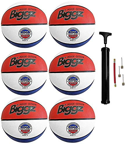 "(Pack of 6) Biggz Premium Rubber Basketballs - Red/White/Blue - Official Size 7 (29.5"")"