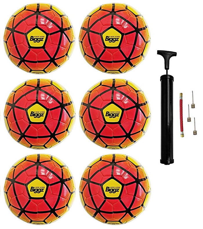 (Pack of 6) Biggz Premium Soccer Balls Durable Size 5