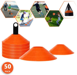 Biggz Pro Disc Cones (50 PCS) Disc Cone Agility Training Sports Cone Plastic with Carry Bag & Holder for Training - Bulk Balls