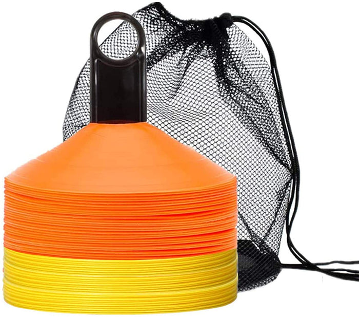 Biggz Pro Disc Cones (50 PCS) Disc Cone Agility Training Sports Cone Plastic with Carry Bag & Holder for Training