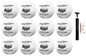 (Pack of 12) Biggz Volleyballs - Soft Touch Leather - Official Size - Bulk Balls