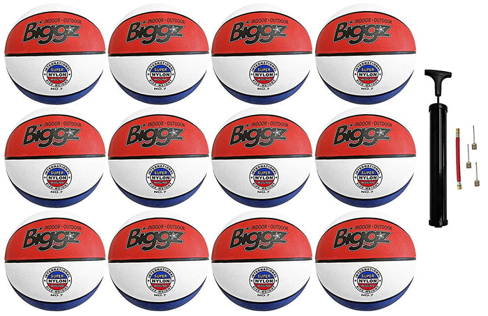"(Pack of 12) Biggz Premium Rubber Basketballs - Red/White/Blue - Official Size 7 (29.5"")"
