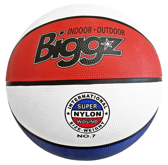Biggz Official Size 7 Premium Rubber Basketballs - Red/White/Blue - Bulk Balls
