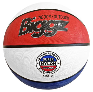 "(Pack of 6) Biggz Premium Rubber Basketballs - Red/White/Blue - Official Size 7 (29.5"") - Bulk Balls"