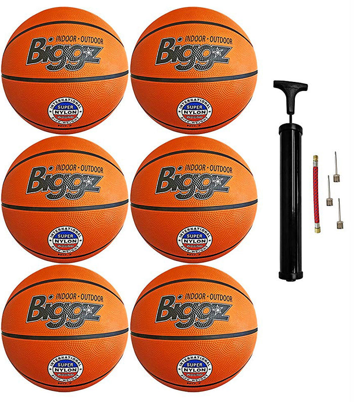 "(Pack of 6) Biggz Premium Rubber Basketballs - Orange - Official Size 7 (29.5"")"