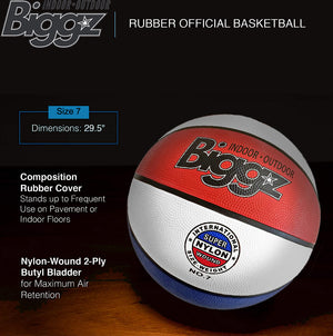 "Biggz Premium Rubber Basketballs - Red/White/Blue - Official Size 7 (29.5"") - Bulk Balls"