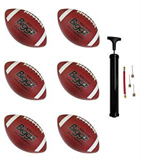 (Pack of 6) Biggz Premium Rubber Footballs Official Size - Bulk Balls
