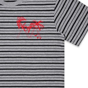 Lazy Palm Tee (Grey Stripe)