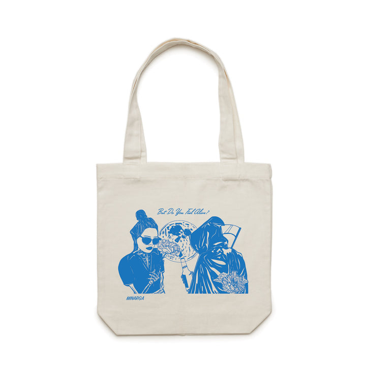 White Tote Bag With Blue Print