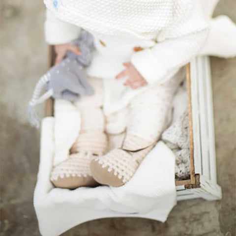 Beba Bean Ivory Sweater Mocc - Baby Moccasins - Infant Shoes - Children's Boutique - Camp Crib - Big Bear Lake