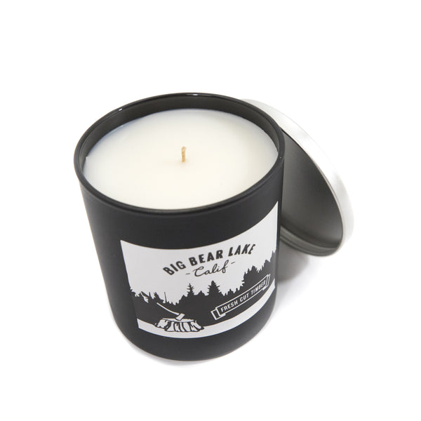 Big Bear Lake Fresh Cut Timber Candle - Custom Logo - Coconut Wax - Paraben Free - Food Grade Certified Coconut Oil - Sustainable Wax - Essential Oil Blends - Children's Clothing Store - Boutique - Camp Crib - Big Bear Lake California