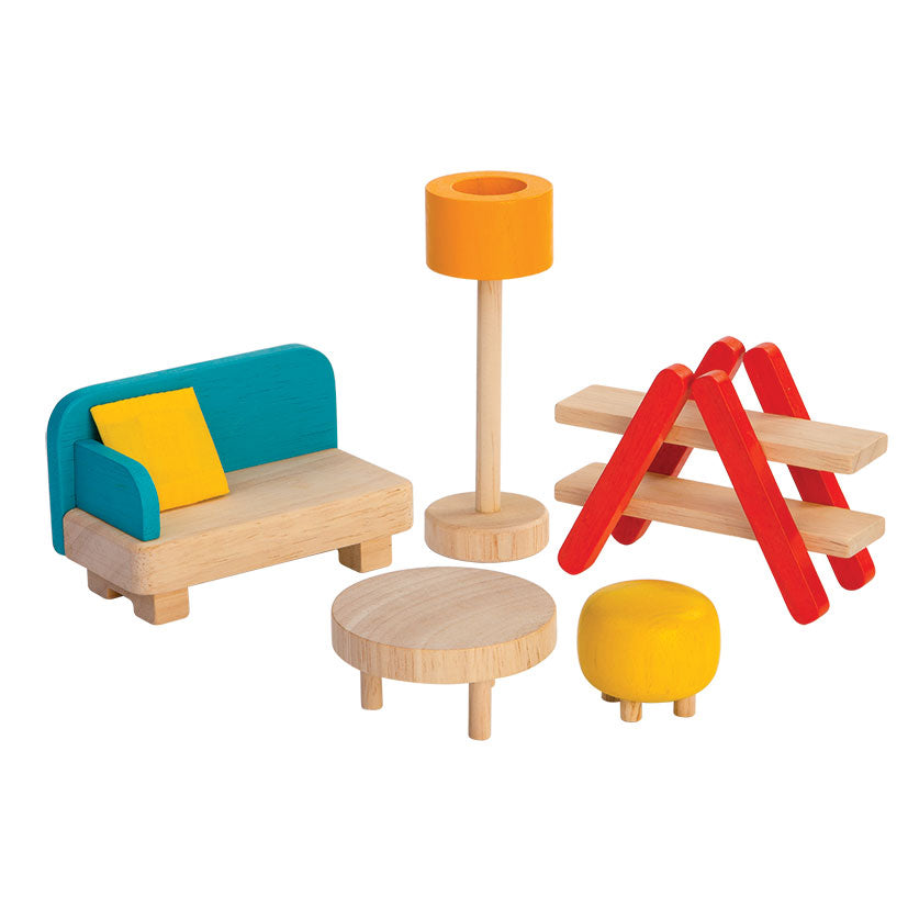 Plan Toys Living Room Set - Wooden Toys - Camp Crib - Big Bear Lake