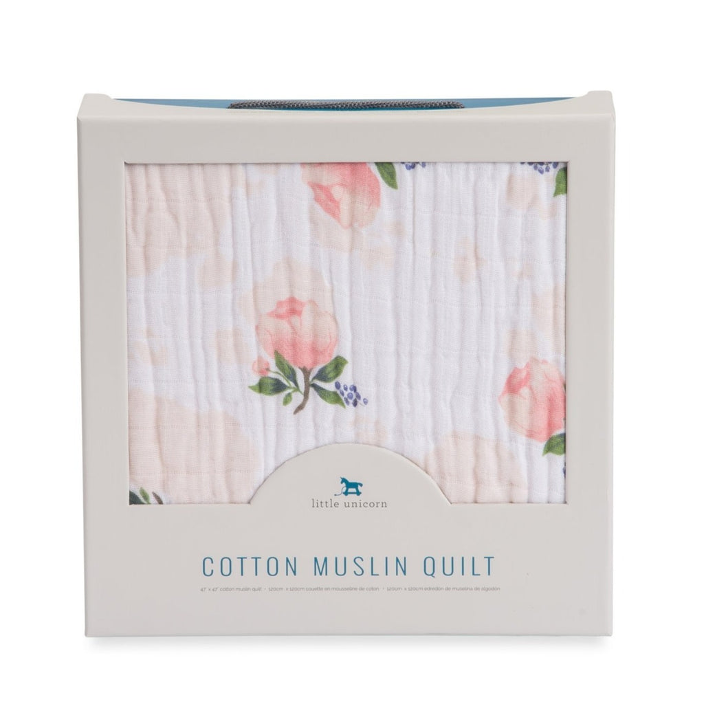 Cotton Muslin Quilt - Watercolor Rose - Little Unicorn - Blankets - Camp Crib - Big Bear Lake