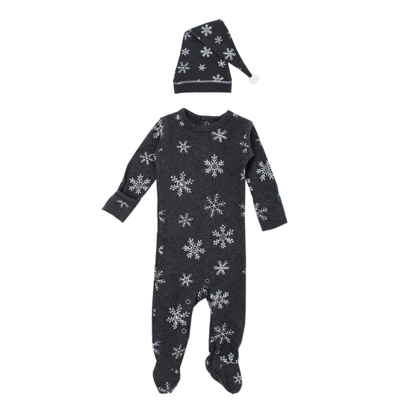 L'ovedbaby XOXO Fair Isle Footed Overall + Cap Set - Baby Holiday Footie - Organic Cotton - Infant Clothing - Children's Boutique - Baby Clothing Store - Camp Crib - Big Bear Lake California