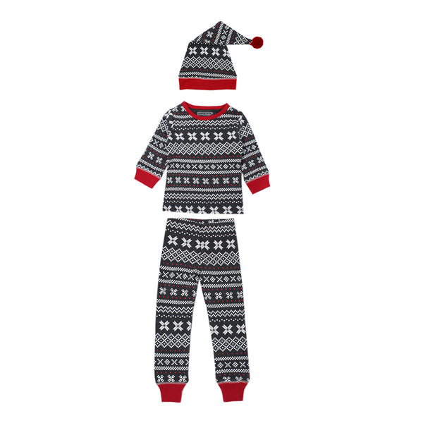L'ovedbaby XOXO Fair Isle Long Sleeve PJ + Cap Set - Kid's Holiday Pajamas - Children's Boutique - Baby Clothing Store - Camp Crib - Big Bear Lake California