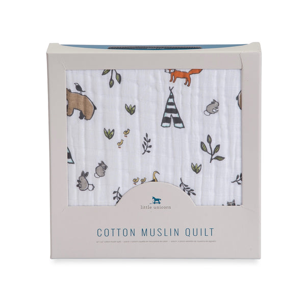 Cotton Muslin Quilt - Forest Friends - Little Unicorn - Blankets - Woodland - Camp Crib - Big Bear Lake