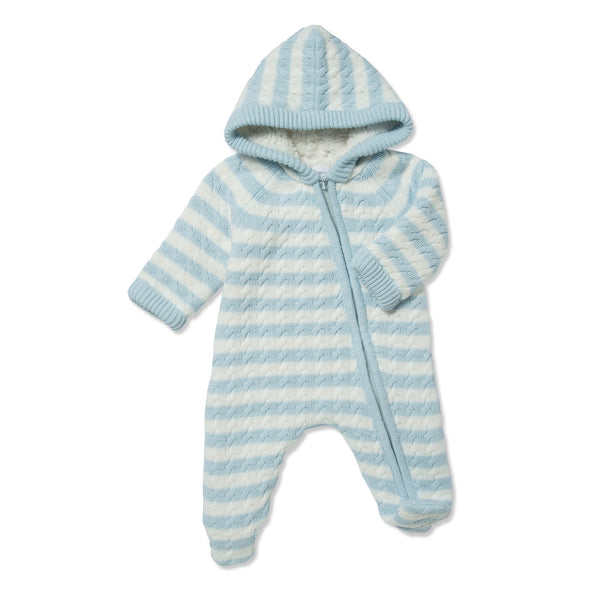 Angel Dear Sherpa Hooded Footie Blue - Lined Onesie - Baby Clothing - Warm Infant Clothing - Baby Store - Camp Crib - Big Bear Lake California