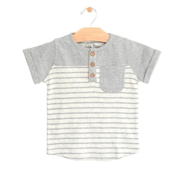 City Mouse Melange Stripe Pocket Henley Tee -  Infant Clothing - Organic Cotton - Children's Boutique - Baby Clothing Store - Camp Crib - Big Bear Lake California