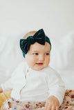 Baby Bling Velvet Knot Pine - Kid's Headband - Infant Hair Accessory - Children's Clothing Boutique - Baby Store - Camp Crib - Big Bear Lake California