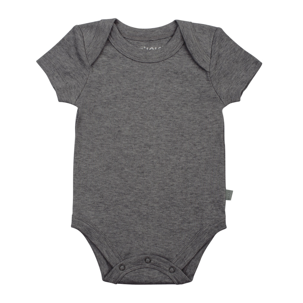 Finn + Emma Charcoal Organic Cotton Onesie - Baby Essentials - Infant Clothing - Children's Boutique - Baby Clothing Store - Camp Crib - Big Bear Lake California