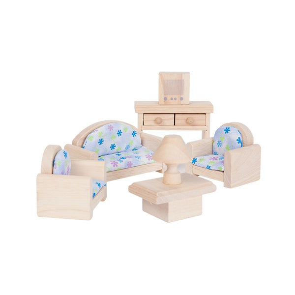 Plan Toys Living Room Set - Classic - Wooden Toys - Dollhouse Accessory - Dollhouse - Ecofriendly Toys - Children's Boutique - Baby Clothing Store - Camp Crib - Big Bear Lake
