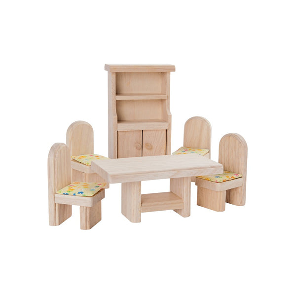 Plan Toys Dining Room Set - Classic - Wooden Toys - Dollhouse Accessory - Dollhouse - Ecofriendly Toys - Children's Boutique - Baby Clothing Store - Camp Crib - Big Bear Lake